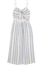 Loveshackfancy Jenna Striped Cutout Cotton Blend Dress Sky Blue