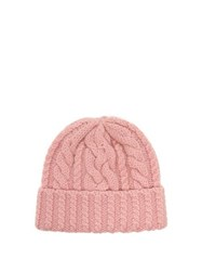 Ami Alexandre Mattiussi Cable Knit Wool Beanie Hat Pink