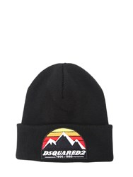 Dsquared Mountain Patch Wool Knit Beanie Hat