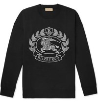 Burberry Merino Wool Blend Jacquard Sweater Black