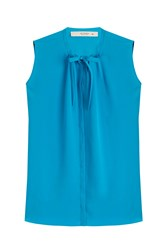 Etro Sleeveless Silk Blouse Blue