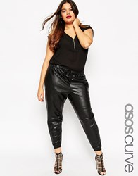 Asos Curve Jogger In Leather Look Black