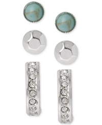 Kenneth Cole New York Silver Tone Crystal Turquoise Bead And Stick Stud Earring Set