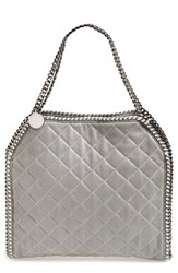 Stella Mccartney 'Small Falabella' Quilted Faux Leather Tote Grey Light Grey Silver