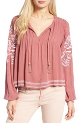 Tularosa Women's Embroidered Peasant Top Rose