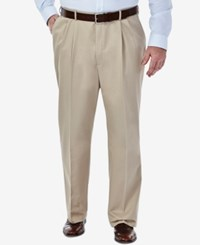 Haggar Work To Weekend Big And Tall Pleated Pants Khaki