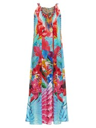 Camilla The Free Print Drawstring Silk Crepe Dress Blue Multi