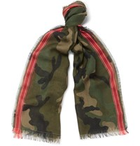 Valentino Camouflage Print Wool Blend Scarf Army Green