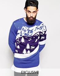 Reclaimed Vintage Christmas Jumper With Retro Ski Scene Blue
