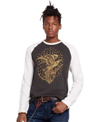 Denim And Supply Ralph Lauren Cotton Graphic Baseball Tee Black Antique Cream