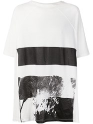 Julius Printed Oversized T Shirt White