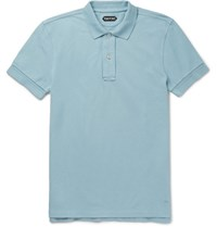 Tom Ford Slim Fit Cotton Pique Polo Shirt Light Blue