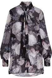 Alexander Mcqueen Pussy Bow Floral Print Silk Crepon Blouse Black