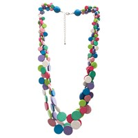 One Button 3 Row Graduated Wooden Bead Discs Necklace Pink Multi