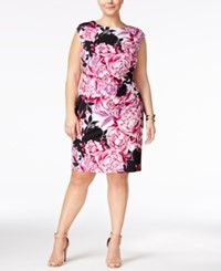 Connected Plus Size Floral Print Sheath Dress Pink Multi