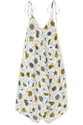 Loewe Paula's Ibiza Asymmetric Printed Crepon Dress Blue