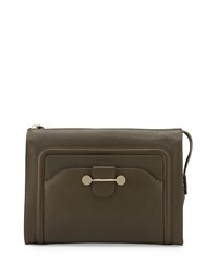 Jason Wu Daphne Leather Clutch Bag Dark Olive