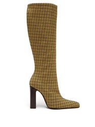 Balenciaga Houndstooth Check Tweed Boots Yellow Multi