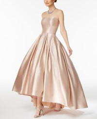 Betsy And Adam Strapless High Low Ball Gown Beige