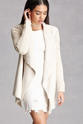 Forever 21 Faux Fur Trim Shawl Cardigan Cream