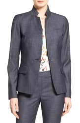 Women's Lafayette 148 New York 'Tristan' Stand Collar One Button Blazer