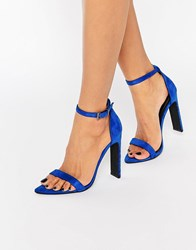 Missguided Pointed Toe Barely There Heeled Sandal Cobalt Blue