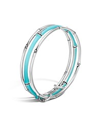 John Hardy Sterling Silver Bamboo Triple Bangle Turquoise Silver