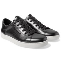 Dolce And Gabbana Metallic Leather Sneakers Gray