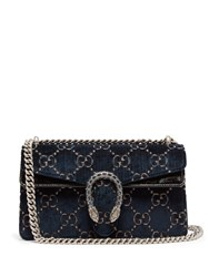 Gucci Dionysus Gg Velvet Shoulder Bag Navy