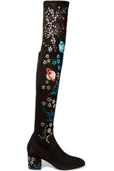 Valentino Metallic Leather Appliqued Stretch Suede Over The Knee Boots Black