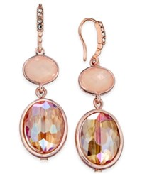 Inc International Concepts Rose Gold Tone Pink Stone Double Drop Earrings Only At Macy's