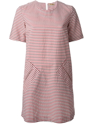 Peter Jensen Striped Shift Dress Red