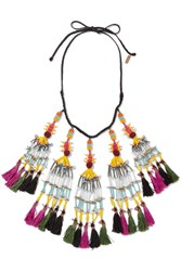 Etro Beaded Tassel Necklace Black