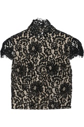 Alice Olivia Marcy Open Back Embellished Lace Top