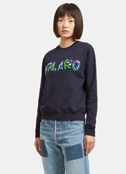 Msgm Floral Beaded Milano Crew Neck Sweater Navy