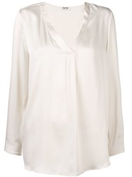 Max And Moi Front Pleat V Neck Blouse White