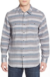 Quiksilver Waterman Collection 'Capitola' Regular Fit Long Sleeve Stripe Linen Sport Shirt Real Teal