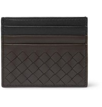 Bottega Veneta Two Tone Intrecciato Leather Cardholder Black