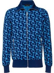 Prada Technical Jacquard Cardigan Blue