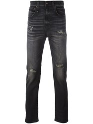 R 13 R13 Ripped Slim Fit Jeans Black