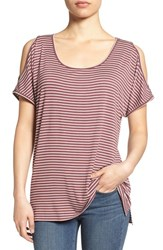 Bobeau Women's Cold Shoulder Scoop Neck Tee Red Brown Offwhite