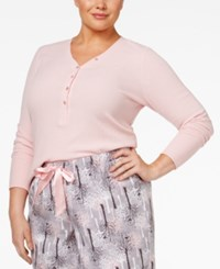 Alfani Plus Size Ribbed Henley Pajama Top Only At Macy's Pink