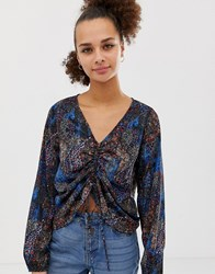 Noisy May Mixed Animal Print Ruched Front Blouse Multi
