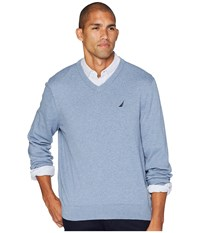 Nautica 12 Gauge Jersey V Neck Sweater Deep Anchor Heather Blue