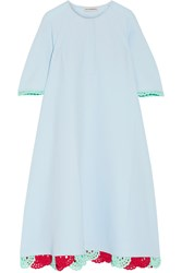 Vika Gazinskaya Crochet Trimmed Cotton Pique Dress Sky Blue