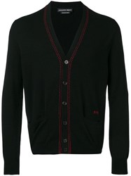 Alexander Mcqueen Knitted Contrast Stitch Cardigan Black