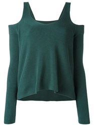 Maison Martin Margiela Mm6 Cut Off Shoulders Knitted Blouse Green