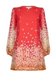 Yumi Floral Detail Tunic Dress Red