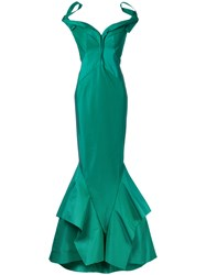 Zac Posen Fitted Gown Green