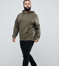 French Connection Plus Basic Overhead Hoodie With Logo Green